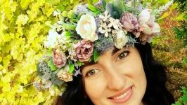 Вінок  на голову в лавандових та фіолетових. Венок с цветами