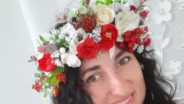 Вінок  на голову український із стрічками. Венок с цветами