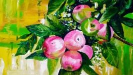 Картина маслом 25х25 Яблоня