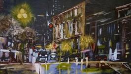 Картина маслом 25х25 Ночной город