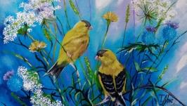 Картина маслом 20х30 Птички