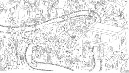 Мега-раскраска ′Прогулка в парке′ 100х70см (раскраска для детей)