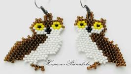 Серьги совы из бисера Серьги ручной работы Украшение сова в подарок
