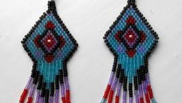 Красивые серьги из бисера Серьги из бисера разноцветные Ручная работа
