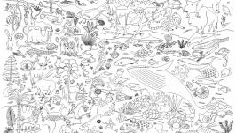 Мега-раскраска ′Животные′ 100х70см (раскраска для детей)