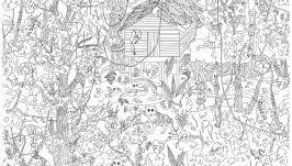 Мега-раскраска ′Джунгли′ 100х70см (раскраска для детей)