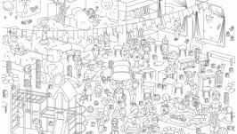 Мега-раскраска ′Детский сад′ 100х70см (раскраска для детей)