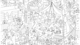 Мега-раскраска ′Цирк-шапито′ 100х70см (раскраска для детей)