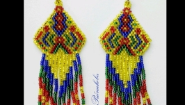 Серьги Радуга Красивые серьги из бисера Серьги на подарок Украшения для нее