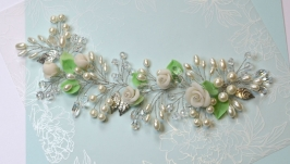 Свадебная веточка Белые розы