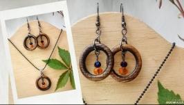 Деревянные украшения, Серьгиподвеска ′Оранж восходящего дня′