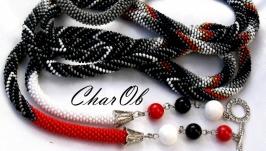 Lariat ′Bright stroke′ decoration transformer necklace sautoir belt