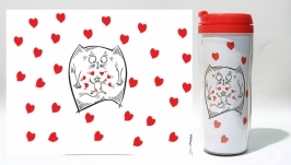 тут изображено Термокружка ′Odd Love′ #1 белый (серия ′Коты и Любовь′)
