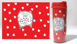 Термокружка ′Odd Love′ #2 красный (серия ′Коты и Любовь′)