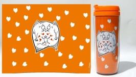 Термокружка ′Odd Love′ #3 оранжевый (серия ′Коты и Любовь′)