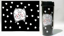 Термокружка ′Odd Love′ #4 черный (серия ′Коты и Любовь′)