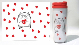 Термокружка ′Котэ с сердечком′ #1 белый (серия ′Коты и Любовь′)