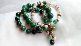 Браслет ′Морское настроение′. Зеленый агат, жемчуг.