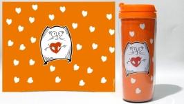 Термокружка ′Котэ с сердечком′ #3 оранжевый (серия ′Коты и Любовь′)
