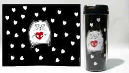 Термокружка ′Котэ с сердечком′ #4 черный (серия ′Коты и Любовь′)