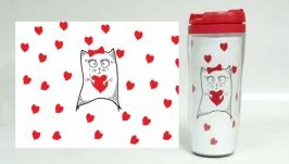 Термокружка ′Кошечка с сердечком′ #1 белый (серия ′Коты и Любовь′)