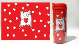 Термокружка ′Кошечка с сердечком′ #2 красный (серия ′Коты и Любовь′)
