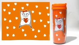тут изображено Термокружка ′Кошечка с сердечком′ #3 оранжевый (серия ′Коты и Любовь′)