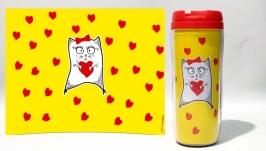 Термокружка ′Кошечка с сердечком′ #5 желтый (серия ′Коты и Любовь′)