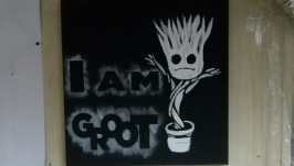 Painting ′I am Groot′ 40*40cm, acrylic on canvas