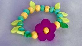 Детский браслет ′ЦВЕТЫ в САДУ′ зеленый из деревянных бусин для девочки