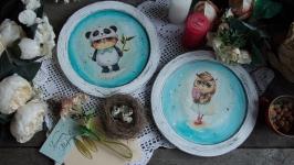 интерьерные панно тарелки с совами. пара