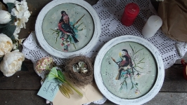 интерьерные панно тарелки с птицами.пара