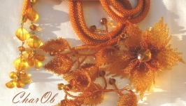 Лариат з брошкою ′Медовий аромат′ Прикраса бурштинове медове