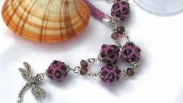 Necklace ′Lingonberry sonnet′. Lariat. Sotuar