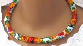 Necklace ′Lingonberry sonnet′. Lariat. Decoration