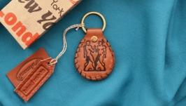 Кожаный брелок с инициалами и знаком зодиака ′БЛИЗНЕЦЫ′