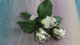 Брошь из кожи «Букет роз»