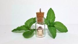 Подвеска-бутылочка сова ′Лим′ стеклянный кулон тотем талисман подарок