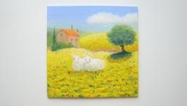 Овечки в полях Прованса, картина маслом из серии Прованс