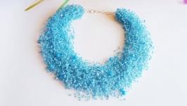 Голубое воздушное колье Голубое ожерелье купить Колье на подарок