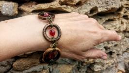 Деревянный браслет ′Кокетливые Рубинчики′. Подарок девушке