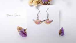 Серьги ′Лиловые птички′ оригинальные серьги птицы волшебный подарок