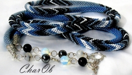 Lariat ′Bright stroke and dragonfly′ Blue