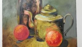 Картина ′Натюрморт с апельсинами′, холст, масло, мастехин, размер 50х40 см