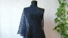 Ажурный темно-синий палантин из Кид мохера на шёлке