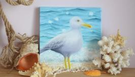 Картина маслом Чайка на берегу моря