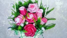 Букет цветов из мыла -Роза-