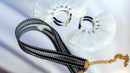 Комплект серьги и чокер ′WHITE AIR′ женских украшений белое и черное