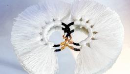 Серьги кольца ′WHITE AIR ′ женские белое и черное   Серьги кисти