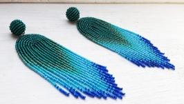 Синьо-зелені сережки, сережки-китиці, сережки-водоспади, сережки з бісеру